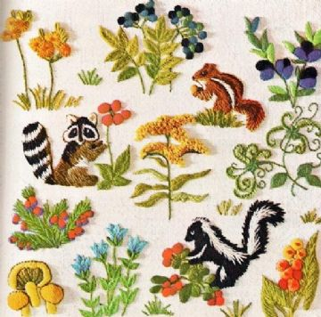 PDF Digital Download Vintage Sewing Crewel Embroidery Woodland Animals Berries Flower Blossoms